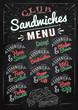 Sandwiches menu the names of sandwiches , ham swiss, chicken