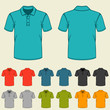 Set of templates colored polo shirts for men. - 63363583