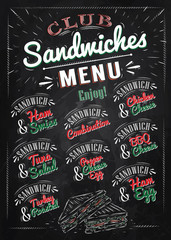 Sandwiches menu the names of sandwiches , ham swiss, chicken