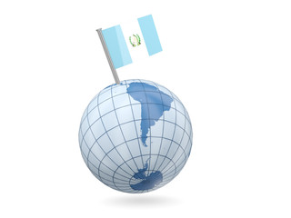 Globe with flag of guatemala