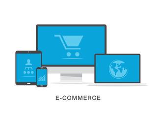 Flat e-commerce business vector illustration concept
