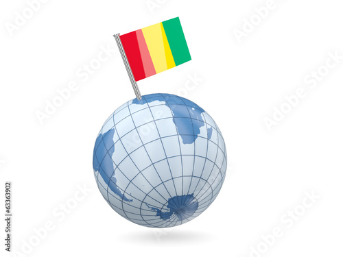 Globe with flag of guinea