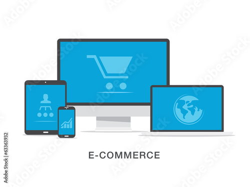 Flat e-commerce business vector illustration concept