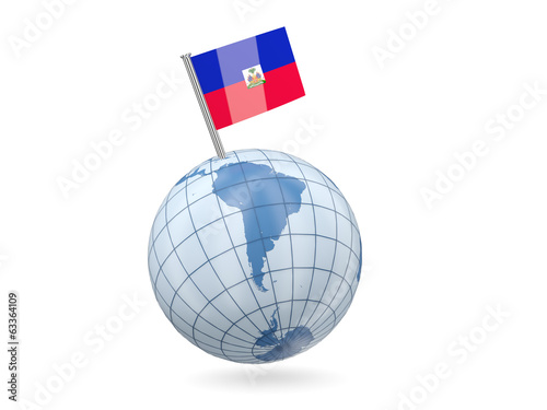 Globe with flag of haiti
