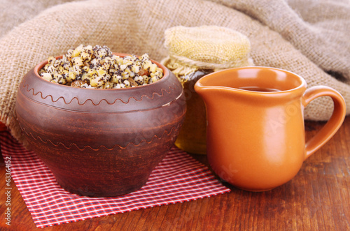 Pot with kutia -  traditional Christmas sweet meal in Ukraine,