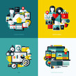 Flat vector icons set of cloud storage, social media, SEO