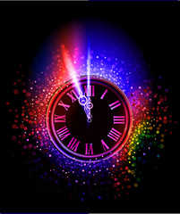 New year eve Neon background, collection of symbols,