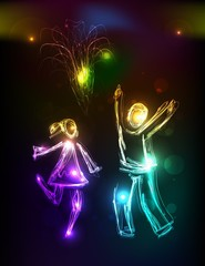 People in love Neon background, collection of symbols,