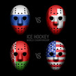 Goalie masks with flags of the Ice Hockey World Championship