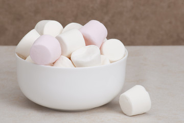 Heap Of Marshmallows In White Bowl