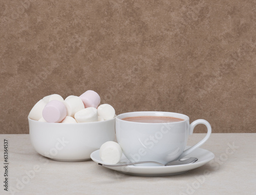 Heap Of Marshmallows In White Bowl. Hot Chocolate Drink