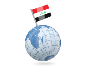 Globe with flag of iraq