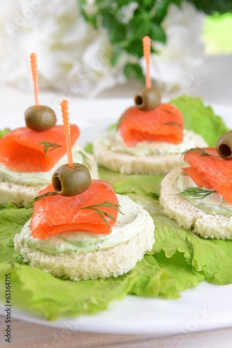 Delicious canapes on table close-up