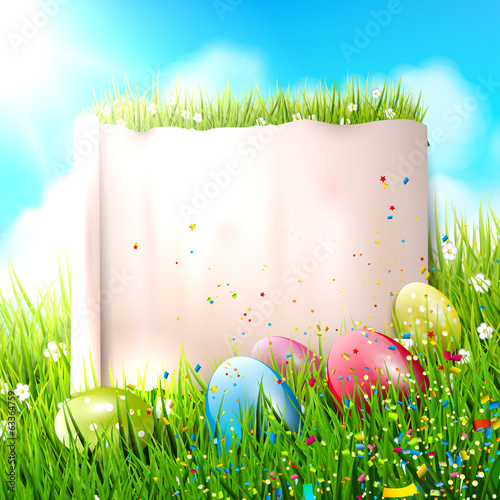 Colorful Easter background with empty paper