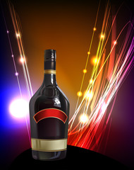 Bottle of wine on neon background