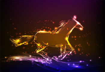 neon horse background