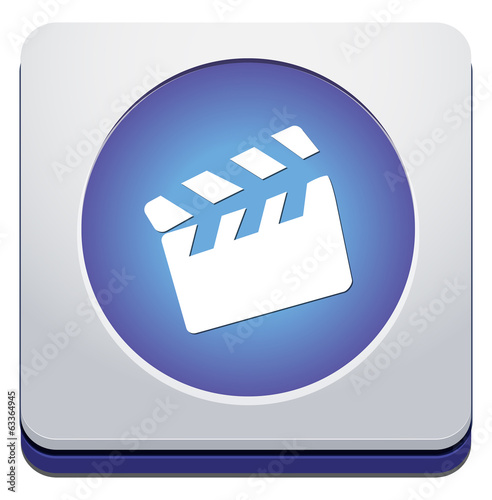movie clapper icon / button