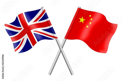 Flags: United Kingdom and China
