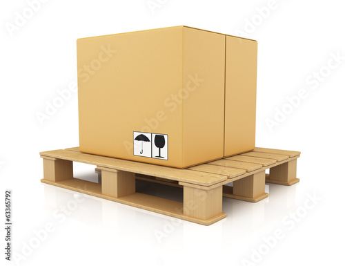 Cardboard box on wooden pallet