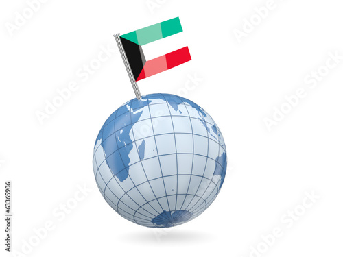 Globe with flag of kuwait
