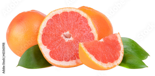 Ripe grapefruit isolated on white