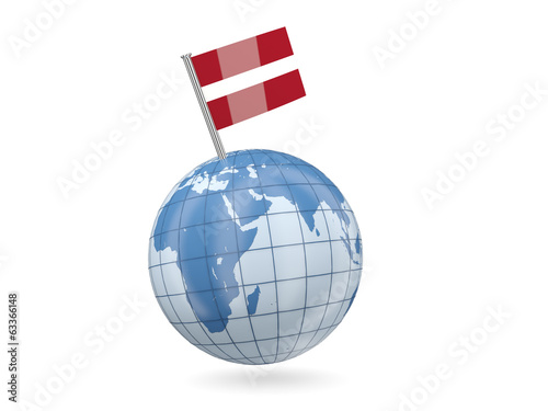 Globe with flag of latvia