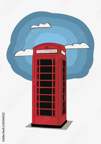 Red telephone box - London UK  vector illustration