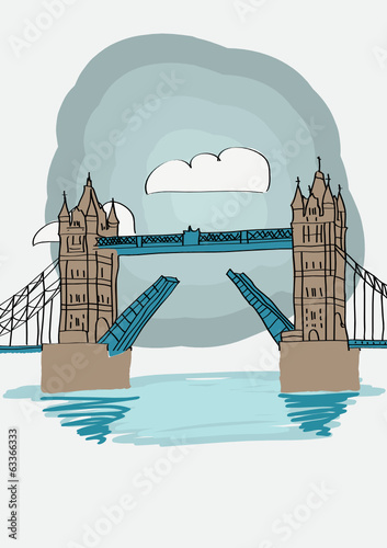 Tower Bridge of London - vector illustration for magazine