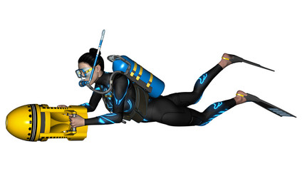 Female Diver with Scooter
