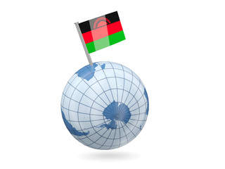 Globe with flag of malawi