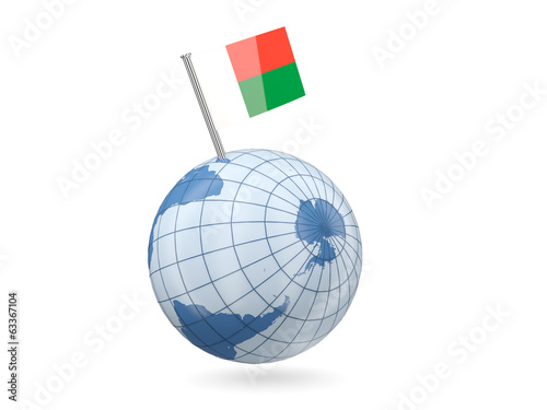 Globe with flag of madagascar