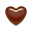 Glossy vector chocolate heart bonbon. Brown candy.