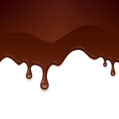 Chocolate drips on white background.