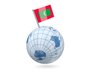 Globe with flag of maldives