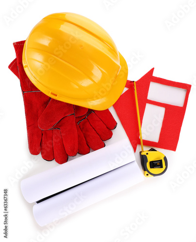 House of felt with helmet and gloves isolated on white
