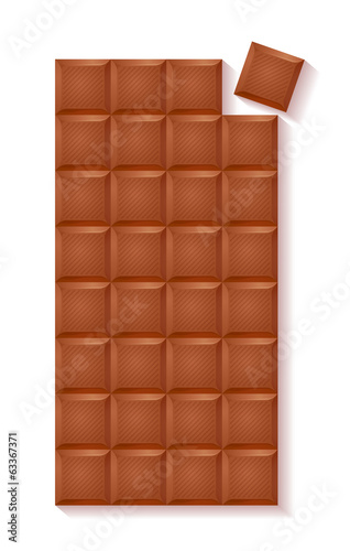 Realistic chocolate bar - milk chocolate with separate bite.