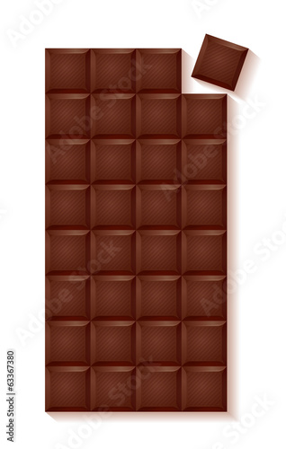 Realistic chocolate bar - dark chocolate with separate bite.