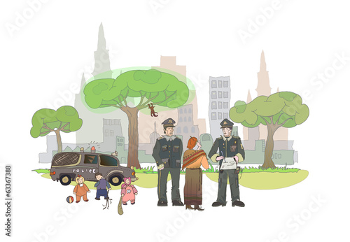 Policeman on duty illustration