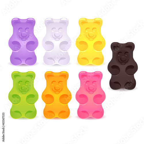 Set of colorful gummy bears.
