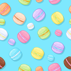 Seamless assorted macarons pattern. Macaroon green background.