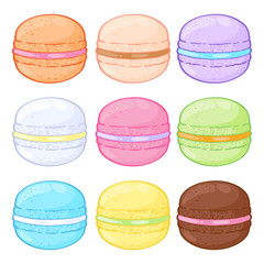 Set of assorted macarons. Macaroons on white background.