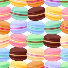 Seamless macarons pattern. Colorful macaroon background.