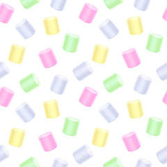 Seamless marshmallow pattern - white sweet background.