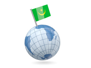 Globe with flag of mauritania