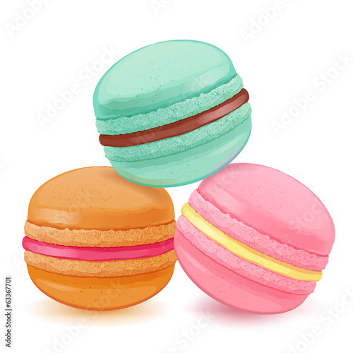Macarons on white back. Colorful macaroons with sweet fillings.