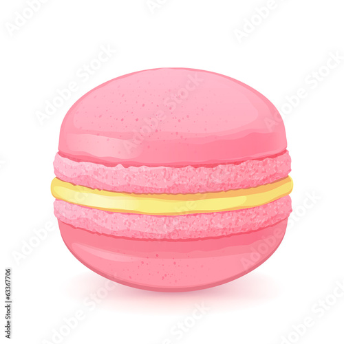 Macaron on white back. Pink macaroon with lemon filling.