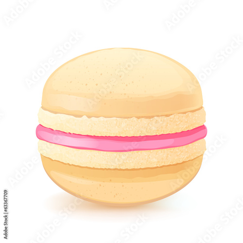 Macaron on white back. Light macaroon with strawberry filling.