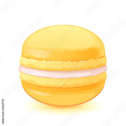 Macaron on white back. Yellow macaroon with cream filling.