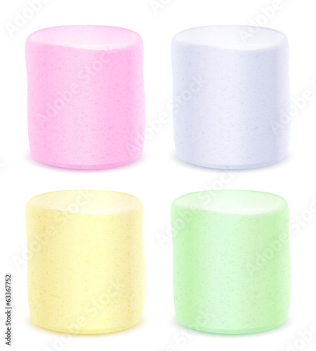 Set of marshmallows - pastel colored.