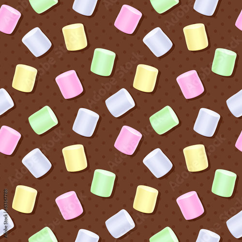 Seamless marshmallow pattern - brown polka dot sweet background.